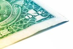 Макрос крупного плана долларовой банкноты США одного, 1 usd банкноты Стоковое Фото