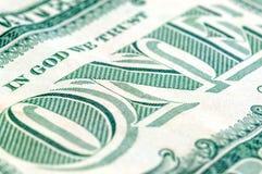 Макрос крупного плана долларовой банкноты США одного, 1 usd банкноты Стоковая Фотография