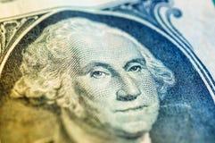 Макрос крупного плана долларовой банкноты США одного, 1 usd банкноты Стоковые Фотографии RF