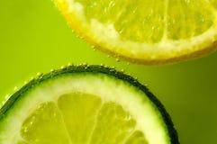 Макрос кусков известки и лимона Стоковые Фото