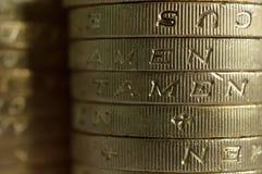 Макрос монеток фунта Стоковое фото RF