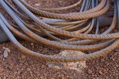 макрос поля глубины штанг конспекта конкретный усиливает сталь штаног отмелую к использовано Стоковое Фото