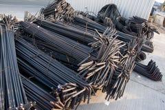 макрос поля глубины штанг конспекта конкретный усиливает сталь штаног отмелую к использовано Стоковые Изображения