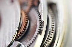 Макрос, предпосылка с cogwheels металла Стоковое Изображение
