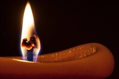 Макрос пламени свечи Стоковая Фотография
