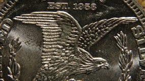 Макрос серебряной монеты Стоковая Фотография