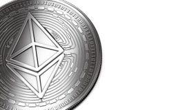 Макрос снял серебряного космоса Ethereum и экземпляра иллюстрация штока