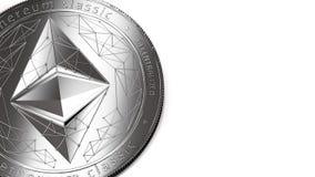 Макрос снял серебряных классики Ethereum и космоса экземпляра иллюстрация штока