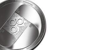 Макрос снял серебряных монетки Omisego и космоса экземпляра иллюстрация штока