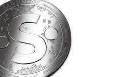 Макрос снял серебряных монетки Santiment и космоса экземпляра иллюстрация штока