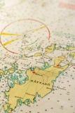 Макрос снял старой морской карты, детализирующ архипелаг Стокгольма Стоковое Изображение RF