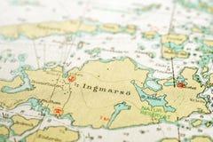 Макрос снял старой морской карты, детализирующ архипелаг Стокгольма стоковая фотография rf