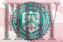 Макрос снял уплотнения от 50 счета u S деньги Стоковое Изображение