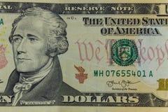 Макрос снятый 10 долларов банкноты Стоковое Фото