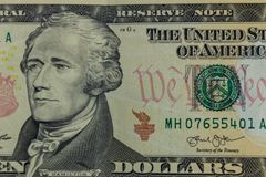 Макрос снятый 10 долларов банкноты Стоковые Фото