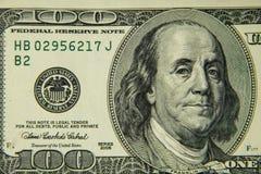 Макрос снятый 100 долларов счета Стоковое Изображение RF