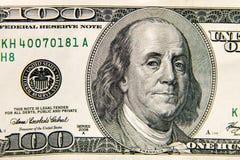Макрос снятый 100 долларов счета Стоковая Фотография RF