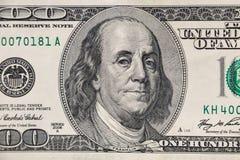 Макрос снятый 100 долларов счета Стоковое фото RF