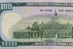 Макрос снятый 100 долларов счета Стоковые Фотографии RF