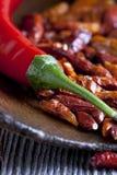 Макрос снятый накаленного докрасна перца chili Стоковое Изображение RF