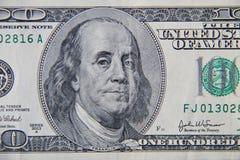 Макрос снятый 100 долларов счета Стоковая Фотография