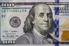 Макрос снятый 100 долларов счета Стоковое Фото