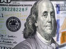 Макрос снятый 100 долларов Стоковое Изображение