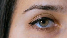 Макрос снятый привлекательной молодой женщины раскрывает ее глаза акции видеоматериалы