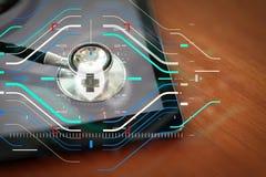 Макрос студии стетоскопа и цифровая таблетка с отмелым ДЕЛАЮТ Стоковые Изображения RF