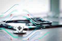 Макрос студии стетоскопа и цифровая таблетка с отмелым ДЕЛАЮТ Стоковое фото RF