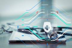 Макрос студии стетоскопа и цифровая таблетка с отмелым ДЕЛАЮТ Стоковые Изображения