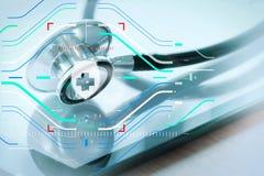 Макрос студии стетоскопа и цифровая таблетка с отмелым ДЕЛАЮТ Стоковая Фотография RF