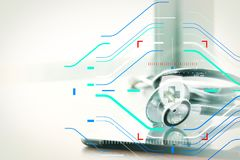 Макрос студии стетоскопа и цифровая таблетка с отмелым ДЕЛАЮТ Стоковое Фото