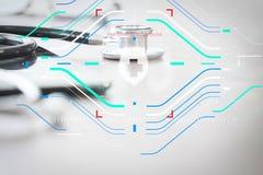 макрос студии стетоскопа и цифровой таблетки на деревянной таблице b Стоковые Изображения