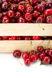 Макрос сладостных вишен (avium сливы) в деревянной клети Стоковое Изображение