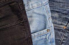 Макрос ткани джинсов Стоковые Изображения