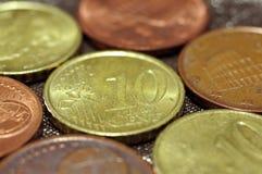 Макрос цента евро Стоковые Изображения RF