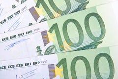 макрос 100 евро Стоковое фото RF