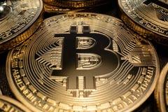 Макрос Bitcoin стоковые изображения rf