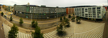 Макс-Билл-Platz в панораме Цюриха Стоковая Фотография