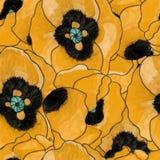 Мак акварели цветет безшовная картина Стоковое Изображение