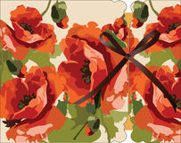 Мак акварели цветет карточка Стоковое Фото