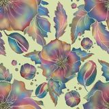Мак Безшовная картина цветков для ткани или обоев иллюстрация штока