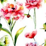 мак картины цветков безшовный Стоковые Изображения RF