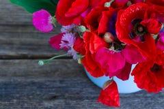 Мак, сладостный горох и цветки мозоли Стоковые Изображения