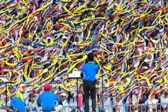Малайзийские студенты празднуя Hari Merdeka в Малайзии, Куалае-Лумпур стоковые фото