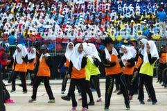 Малайзийские студенты практикуя для Hari Merdeka в Малайзии, Куалае-Лумпур стоковое изображение rf
