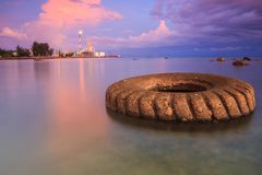 Малайзия Заход солнца на метаноле labuan petronas Стоковые Фото