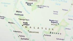 Малайзия на карте сток-видео