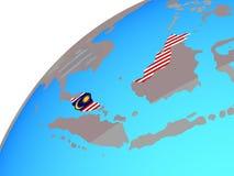 Малайзия с флагом на глобусе иллюстрация штока
